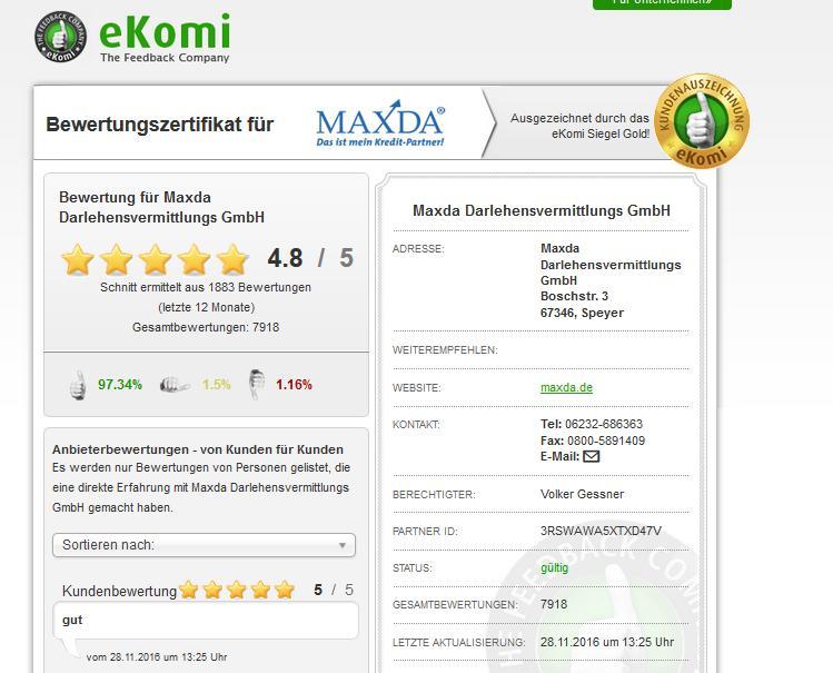 Maxda Bewertungen; kredit-negative-schufa.com